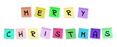 Merry Christmas - Colorful Sticky Notes. Vector Illustration Of Merry Christmas As Black Font Handwritten On Colorful Sticky Notes Isolated On White Background Royalty Free Stock Photos