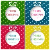 Vector illustration of Merry Christmas balls on colorful bright background set. Christmas cards set. Royalty Free Stock Photo