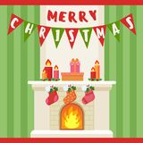 Vector illustration of Merry Christmas decoration and socks at fireplace. Christmas card. Vector illustration of Merry Christmas decoration and socks at Stock Photography