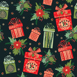 Vector illustration of Merry Christmas gifts. Seamless pattern. Royalty Free Stock Images