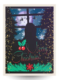 Vector illustration of Merry Christmas greeting card. Poster with woman dreaming and looking at window, fir-trees, holly berries, snowflakes, lights, reindeers Stock Illustration