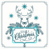 Vector illustration of Merry Christmas greeting with deer stock illustration