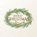 Vector illustration of Merry Christmas greeting with golden pine cones Stock Image