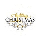 Vector illustration of Merry Christmas greeting with holly, berry, bow. Lettering typography inscription. Old magic winter emblem with Christmas in retro style Stock Photos