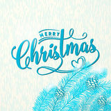 Vector illustration of Merry Christmas greeting with pine cone, spruce Stock Photography