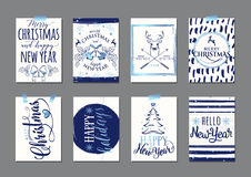 Vector illustration of Merry Christmas and Happy New Year blue typography flyer template Stock Photography