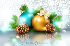Vector illustration for Merry Christmas and Happy New Year . Gre. Eting card with New Year`s balls, branches of spruce and cones on a bright, blurry, sparkling royalty free illustration