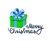 Vector illustration of Merry Christmas Lettering with cartoon drowing green present. Element for design banners, web and Stock Image