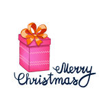 Vector illustration of Merry Christmas Lettering with cartoon drowing pink present. Element for design banners, web and Stock Photo