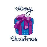 Vector illustration of Merry Christmas Lettering with cartoon drowing violet present. Element for design banners, web Stock Images