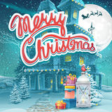 Vector illustration Merry Christmas with presents and a lamp vector illustration