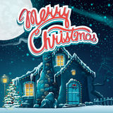 Vector illustration Merry Christmas with snow-covered house in t. He moonlight.  For print, create videos or web graphic design, user interface, card, poster Stock Image
