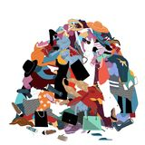 Vector Illustration with a Messy Pile of Dirty Laundry. Big pile of useless clothes. Nothing to wear concept, home stuff and. Vector Illustration with a Messy vector illustration