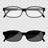 Vector Illustration metal framed geek glasses isolated on a transparent background. Black eye glasses. Spectacles with lens vector illustration. Sun glasses Royalty Free Stock Photography