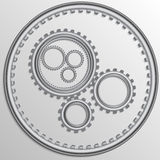 Vector illustration of metallic chrome gear wheels Royalty Free Stock Image