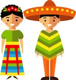 Vector illustration of mexican children, boy, girl, people Stock Photos