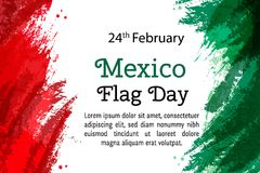 Vector illustration Mexico National Day, Mexican flag in trendy style. 24 February Day of Flag Mexico. Design template. For poster, banner, flayer, greeting Royalty Free Stock Photography