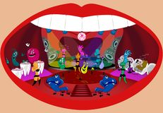 Vector illustration. Microbes have a party in the mouth. stock illustration