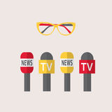 Vector illustration -  microphones, journalism, live news, news of the world Stock Photography