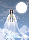 Vector Illustration Mid Autumn Festival With Chang E, The Chinese Goddess Of Moon Royalty Free Stock Images