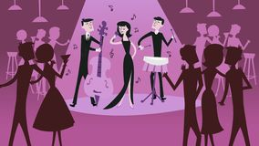 Mid Century Modern Retro Jazz Club Scene. A vector illustration of mid century modern retro jazz club scene in cool magenta shade. The illustration depicts a royalty free illustration