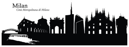 Vector illustration of Milan cityscape skyline Royalty Free Stock Photo
