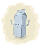 Vector illustration of a milk box doing yoga Royalty Free Stock Photography