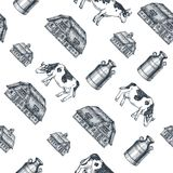 Milk farm seamless pattern. Cow, farm, milk can engraved illustration. Vintage husbandry. Vector illustration. Vector illustration. Milk farm seamless pattern Stock Illustration