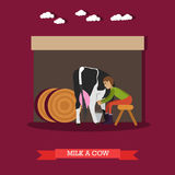 Vector illustration of milker milking cow in flat style. Vector illustration of milker milking cow. Dairy farm, farming concept design element in flat style Royalty Free Stock Photography