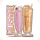 Vector illustration of Milkshake. 2 cold desserts and original typeface for word milkshake, strawberry smoothie with soft serve ice cream and cherry up Royalty Free Stock Images