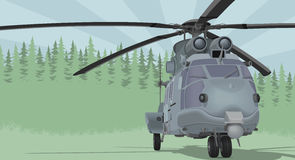Vector illustration of a millitary helicopter on a forest background. Illustration of a helicopter on a forest background Stock Image