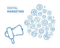 Vector Illustration mit blauer Ikone in der flachen Linie Art Konzept des Entwurfes für digitales Marketing, Sozialkampagne, enga Stockfotos