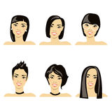Vector Illustration mit dem Bild der Frisuren Stockbilder