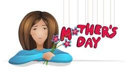 Vector Illustration mit dem Bild einer Frau mit Blumenstrauß von Blumen und von Aufschrift Mutter ` s Tag lizenzfreie abbildung
