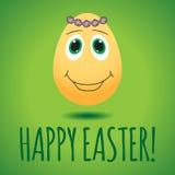 Vector Illustration mit dem lustigen Ei, das zu glücklichem Ostern-Tag engagiert ist Lizenzfreie Stockfotografie