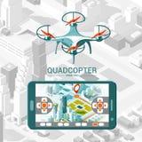 Vector Illustration mit dem Viererkabelhubschrauber, der über die Stadt und den Prüfer auf isometrischem Hintergrund fliegt Brumm Lizenzfreie Stockfotos