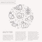 Vector Illustration mit den umrissenen gesunden Lebensmittelikonen, die einen Kreis bilden lizenzfreie abbildung