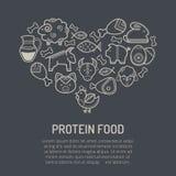 Vector Illustration mit den umrissenen Lebensmittelikonen, die eine Herzform bilden Lizenzfreies Stockbild