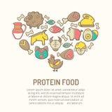 Vector Illustration mit den umrissenen Lebensmittelikonen, die eine Herzform bilden Stockfoto
