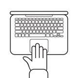 Vector Illustration mit der Hand auf Tastatur des Laptops Vector Ikone von Laptop und Hand` s Draufsicht in der flachen Art Stockfotografie