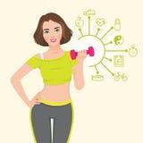 Vector Illustration mit Elementen infographics athletischen Mädchens, das Eignung tut lizenzfreie abbildung