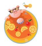 Vector Illustration mit glücklichem Schwein im Pool lizenzfreie abbildung