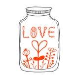 Vector Illustration mit Glas, Herzen und Beschriftungswörtern - Liebe Netter und romantischer Hintergrund mit Text stock abbildung