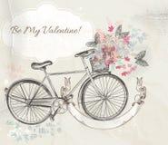 Vector Illustration mit Hand gezeichnetem Fahrrad und Blumen vektor abbildung