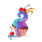 Vector Illustration mit kleinem Kuchen, Kirsche und Süßigkeiten Lizenzfreies Stockfoto