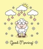 Vector Illustration mit Lamm, Sonne, Wolke, Blumen, Herzen stock abbildung