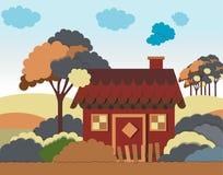 Vector Illustration mit Landhaus in der flachen Art Lizenzfreies Stockfoto