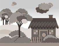 Vector Illustration mit Landhaus in der flachen Art Lizenzfreie Stockfotografie