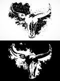 Vector Illustration mit Schädeln eines den wilden Büffels mit Schmutzelementen Stockfotografie