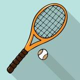 Vector Illustration mit von Hand gezeichnetem Tennisschläger und -ball vektor abbildung